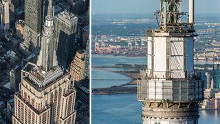 En kokong beskytter toppen av en av verdens største skyskrapere