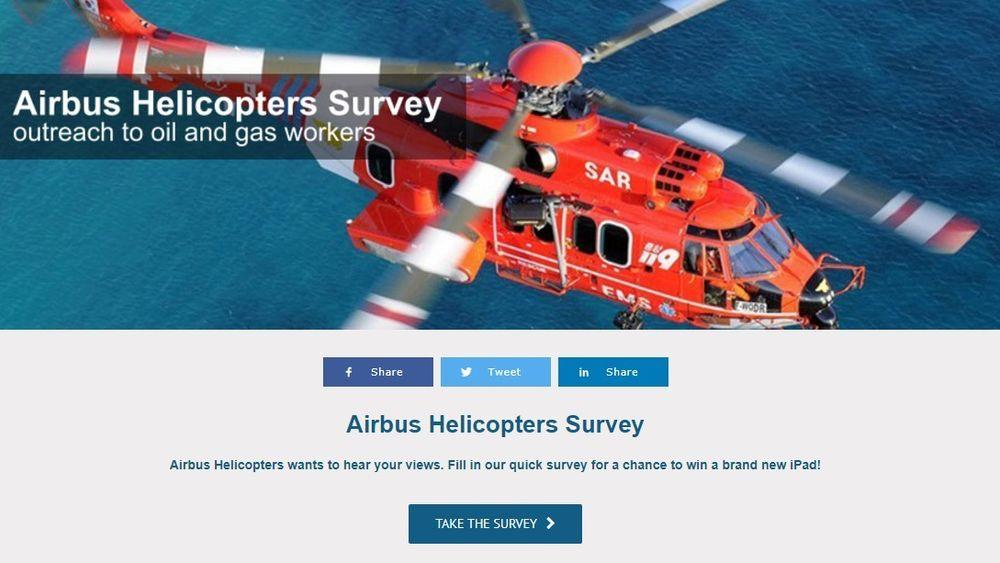 Den siste uka har Airbus Helicopters kjørt en undersøkelse rettet mot ansatte i petroleumssektoren på britisk side av Nordsjøen.