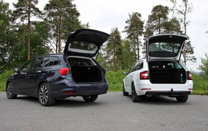 PRAKTISKE: Skoda Octavia er snautt ti centimeter lengre enn Fiat Tipo, og har i tillegg fått meir ut av den innvendige plassen. Han tek 610 liter i bagasjerommet, 60 meir enn Tipo.
