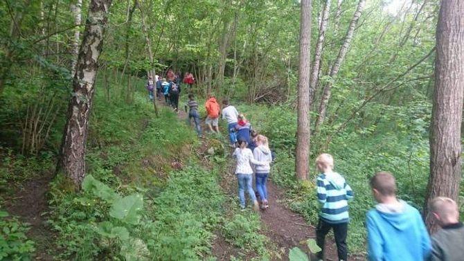 KULTURSTI: Stien som går frå Sogn jord- og hagebrukskule til Turlidfossen er ein populært tursti i Aurland.