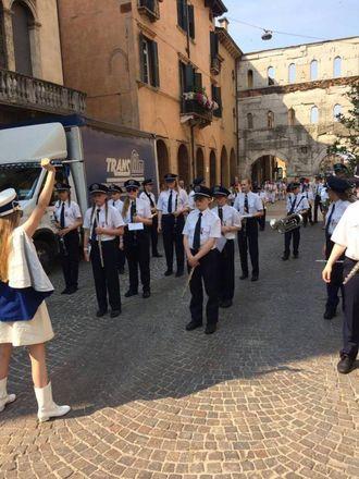 KONSERT: I løpet av opphaldet spelte korpset to konsertar, her i Verona.