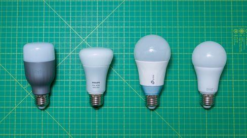 Fra venstre: Xiaomi Yeelight, Philips Hue, TP-Link og IKEA Trådfri.