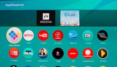 Panasonic har en del apper installert. Men det er langt fra et like bredt utvalg som de beste alternativene på markedet.
