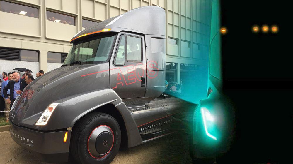 AEOS ble lansert tirsdag. Teslas semitrailer kommer neste måned ifølge ryktene. Foto: Cummins og Tesla. Montasje: tu.no.