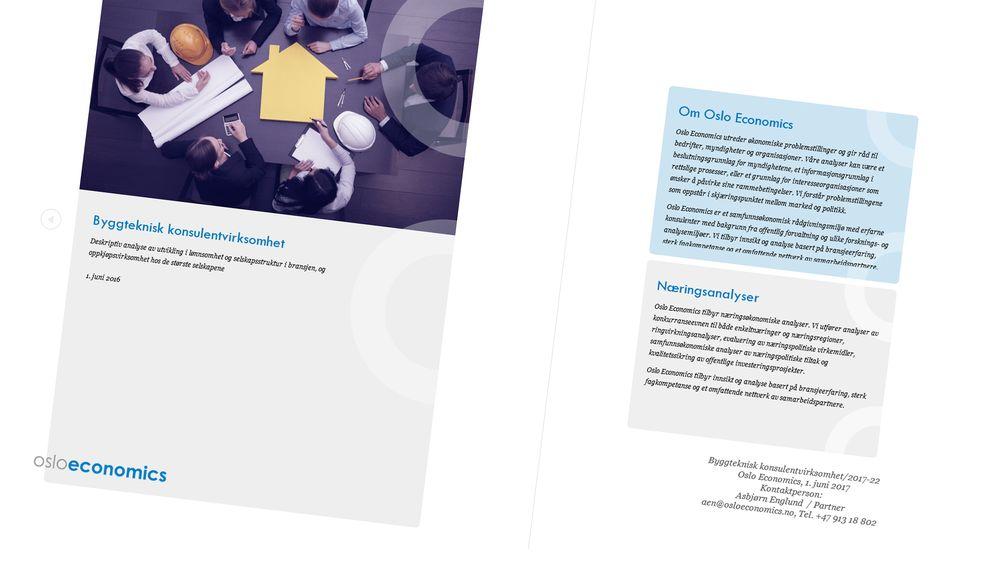 Oslo Economics har gjennomført en analyse av bransjen for rådgivende ingniører.