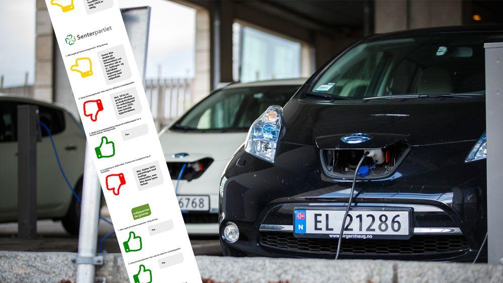 Vi har bedt partiene ta stilling til fire ulike punkter om nullutslippsbiler og målet om fossilfritt nybilsalg fra 2025.