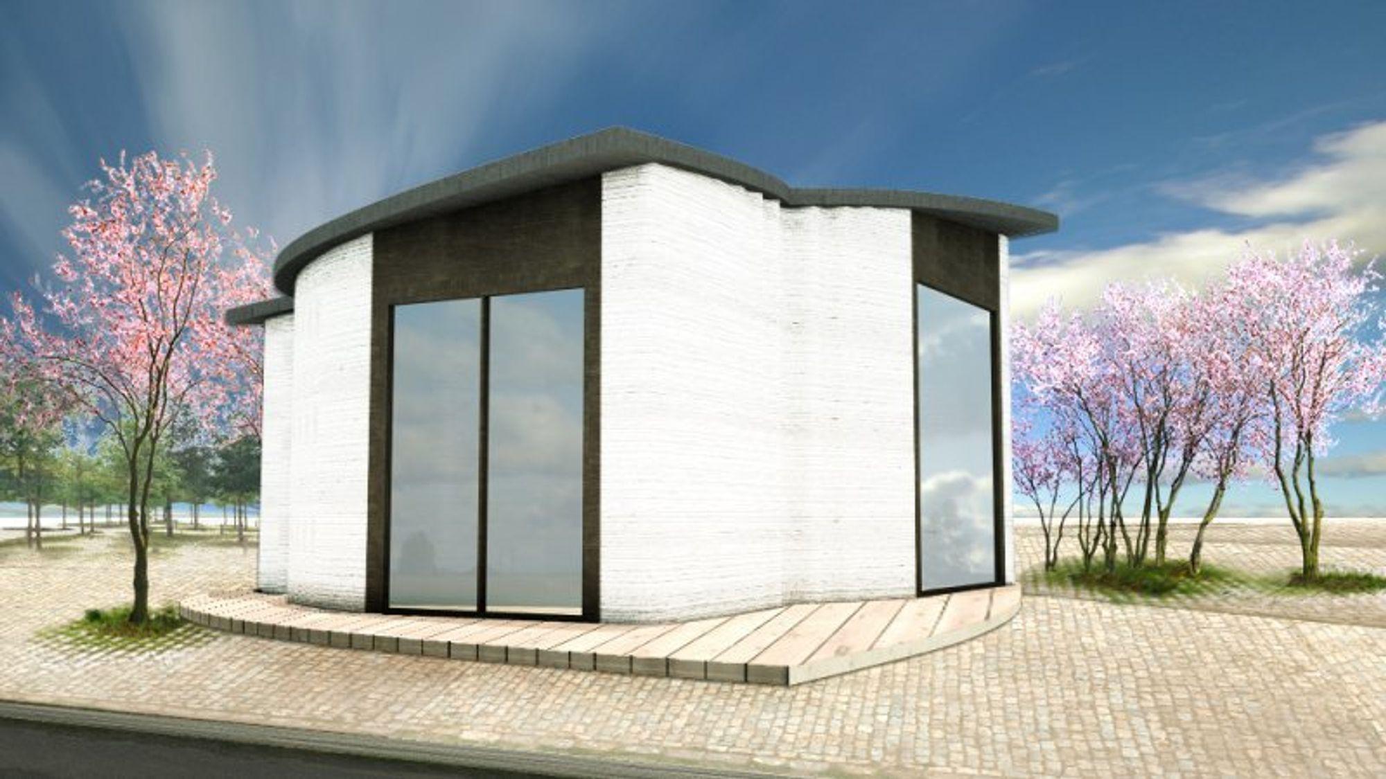 Buede betongvegger og et skrått tak er ikke vanskelig å bygge når man har en 3D-skriver til formålet. Et nytt bygg i Nordhavn skal vise mulighetene med 3D-skrevet betong.