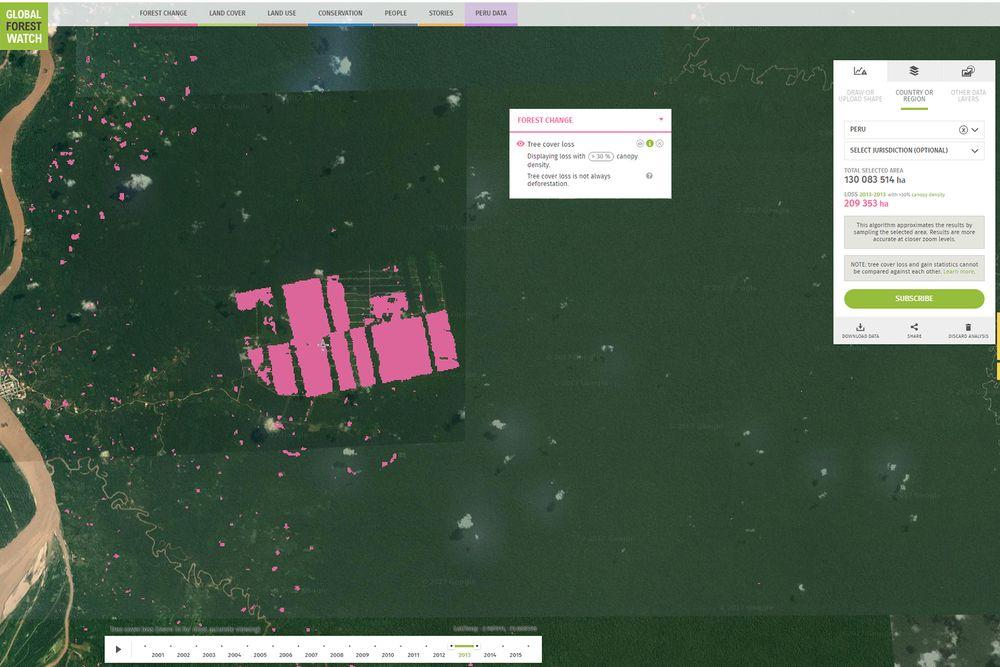 Sett fra oven: Satellittbildene er fra Loreto-provinsen i Peru i nærheten av byen Iquitos i Amazonas. Dette er den største byen i verden som ikke kan nås via landeveien. Det grønne er regnskog. Det brune er Amazonas-floden. Der oppdaget man fra ett år til et annet 2012-2013 at et gigantisk område av naturskogen var fjernet. De rosa områdene er endring i skogdekke. Det viste seg at dette var gjort av et selskap som heter United Cacao. Selskapet ville fremstå som miljøvennlige, men ble takket være satellittbildene tatt på fersk gjerning.