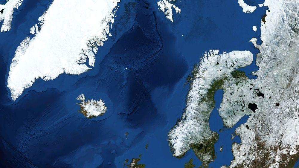 Norskehavet er den delen av Atlanterhavet som ligger mellom Norge, Svalbard og Island. Foto: Nasa