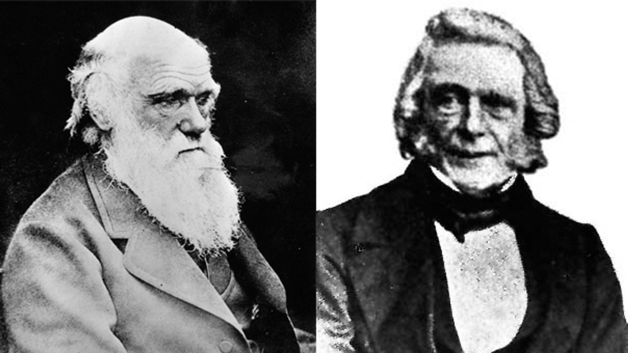 Charles Darwin (t.v.) er verdenskjent som opphavsmannen til evolusjonsteorien. Botaniker Patrich Matthews var inne på det samme flere år tidligere, uten å ha fått særlig annerkjennelse for det.