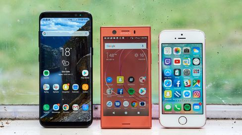 Galaxy S8, Xperia XZ1 Compact og iPhone SE.