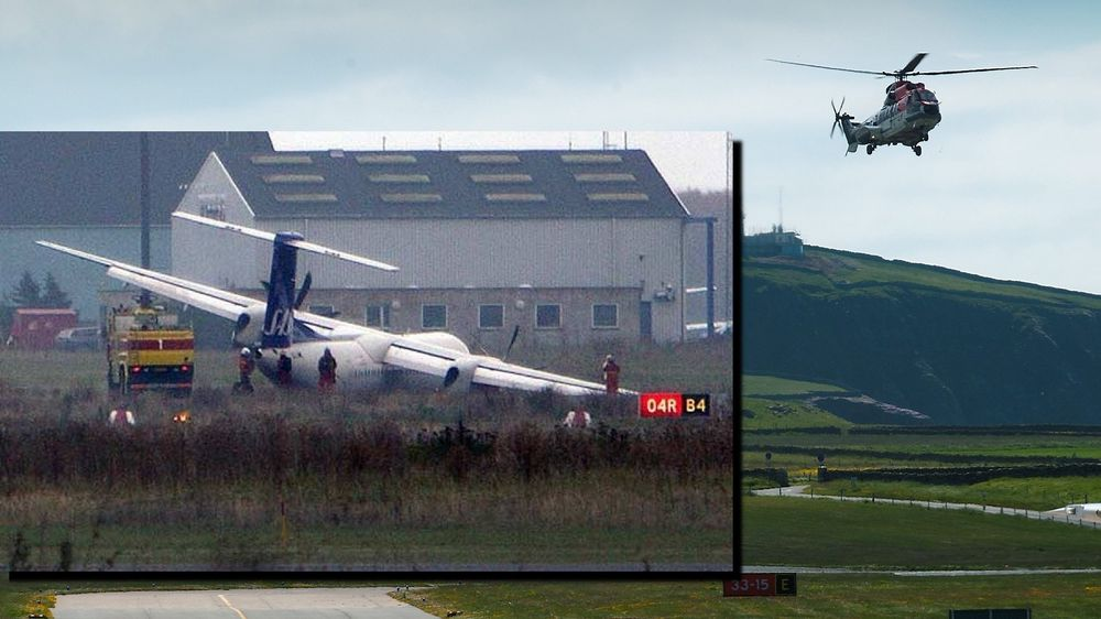 Et AS332L2 går inn for landing på Sumburg lufthavn på Shetland. Innfelt er et Q400 fra SAS på Kastrup med ødelagt landingsstell.