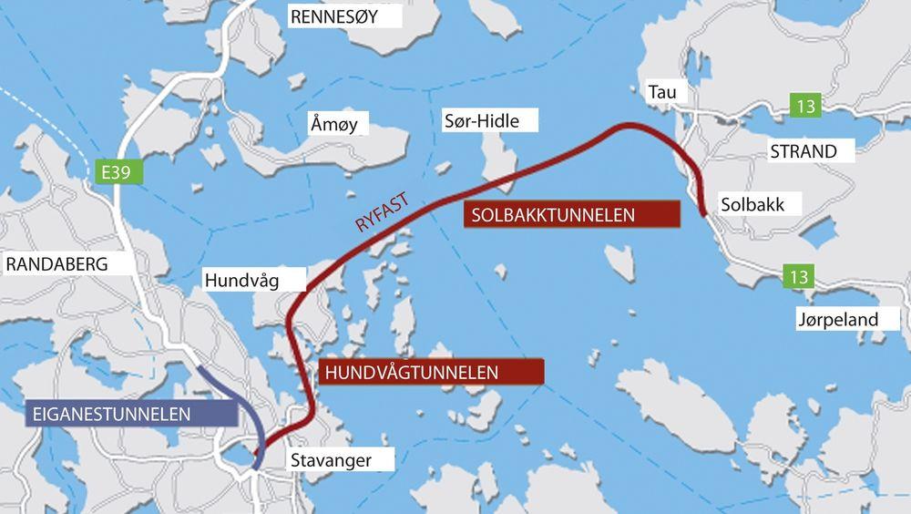 REKORD: Kartet viser hvor rekordtunnelen skal gå under havet i Rogaland.