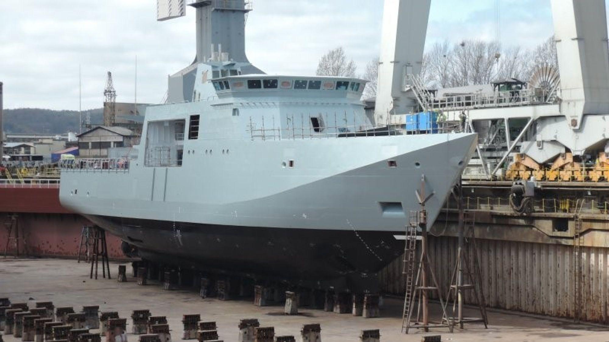 Lauge Koch i dokk under byggingen av skroget på Crist-verftet i Polen i 2014. Foto: Karstensens Skibsværft/Ingeniøren