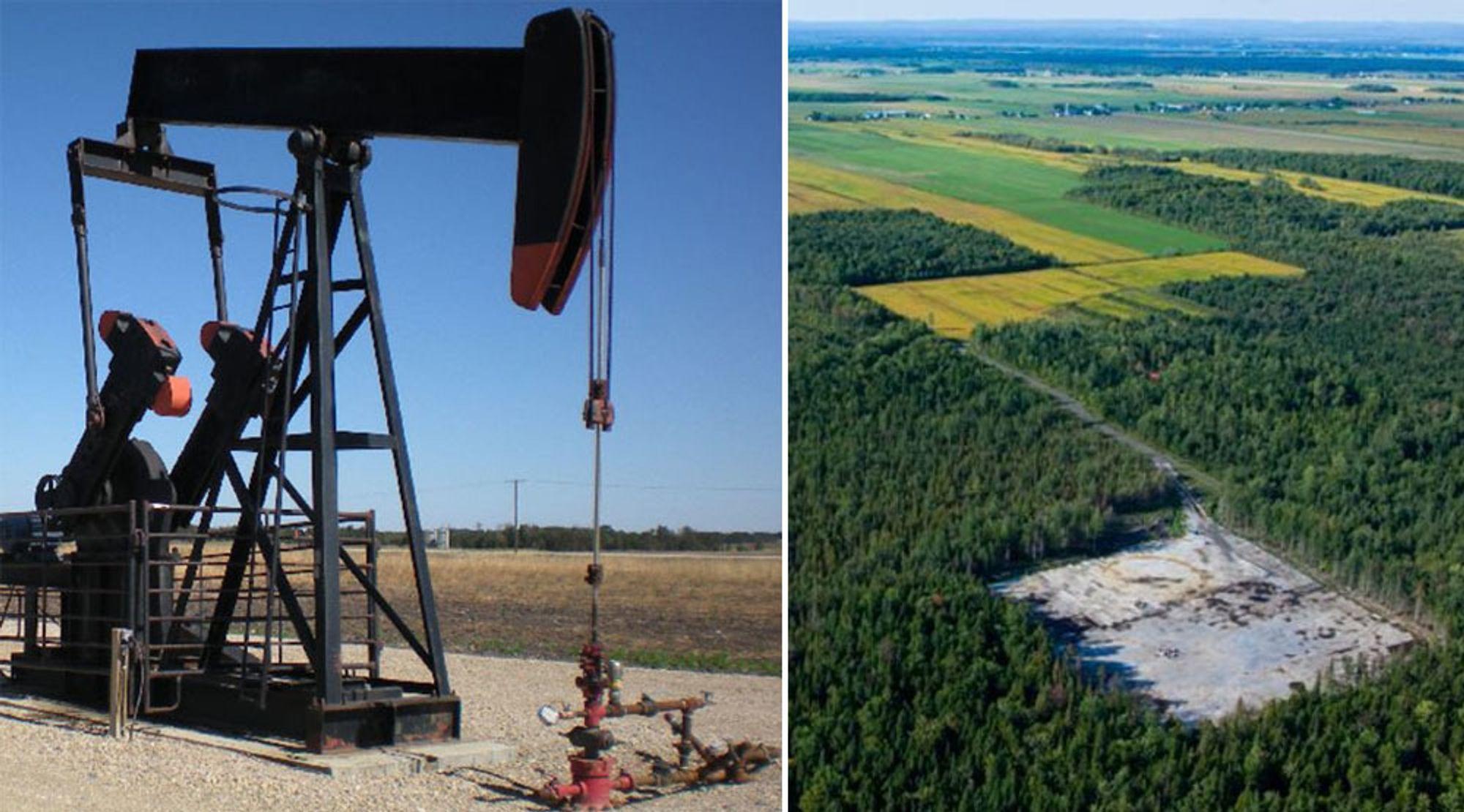 Her, utenfor Quebec (til høyre), skal selskapet Questerre produsere det de selv omtaler som noe av den reneste naturgassen som finnes. Produksjonen er ventet å starte i 2019. Til venstre fra selskapets anlegg i Saskatchewan.