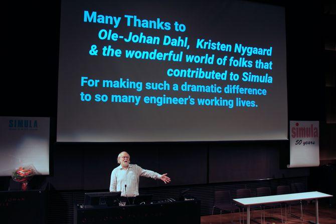 James Gosling under foredrag om Simula ved Ifi, UiO, 27. september 2017. Hilsen til Ole-Johan Dahl og Kristen Nygaard.