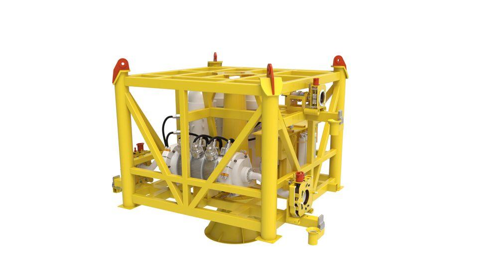 Slik ser illustrasjonen av den såkalte Modular Compact Pump undervannsmodulen ut.