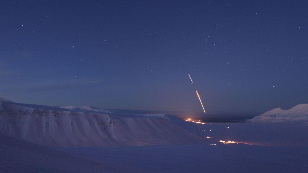 Bildet viser en tidligere NASA Black Brant XII-oppskytning fra Andøya Space Center.