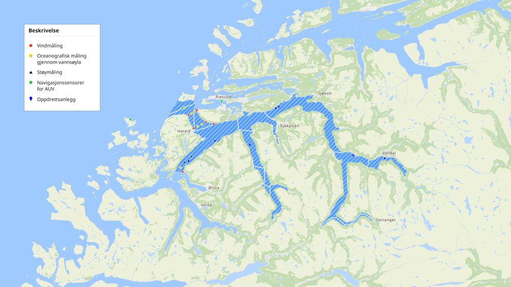 Kart over Storfjorden og utplassering av sensorer og instrumenter. Fra og med 29. september 2017 er området gjennom en avtale mellom Sjøfartsdirektoratet, Kystverket og GCE Blue Maritime godkjent testarena for autonome fartøy.