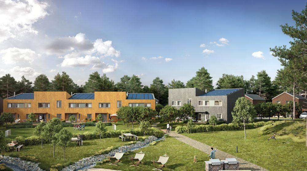 På Furumoutbyggingen på Ski skal alle boligene få solceller på taket. Slik ser utbyggerne for seg at det blir seende ut. Investeringen har vist seg å være et konkurransefortrinn for dem og nesten alle boligene er solgt.