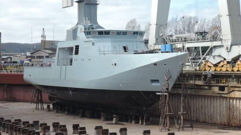 Det danske inspeksjonsfartøyet Lauge Koch under bygging på Crist-verftet i Polen.