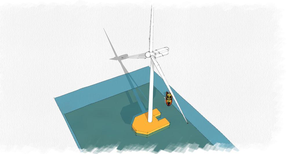 Slik kan en vinkraftlekter se ut. Windbarge forbindes til havbunnen med kun en line og ligger på savi. Den kan skaleres opp til å bære 15 MW turbiner. Arbeidsbåt med vedlikeholdspersonell kan dokke under rolige forhold akter.