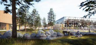 Denne skissen viser hvordan Northvolt ser for seg sin fabrikk i Sverige.