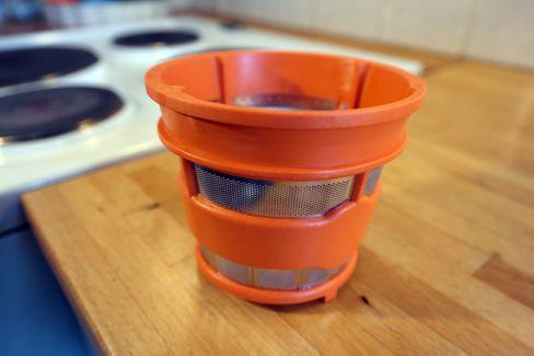 Slik ser en typisk filtersil på en vertikal juicer ut.
