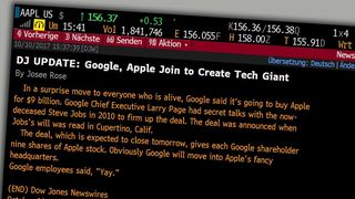 Dow Jones meldte at Google kjøper Apple for 9 milliarder dollar