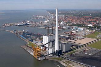 Elsams kullkraftverk i Esbjerg, Danmark.