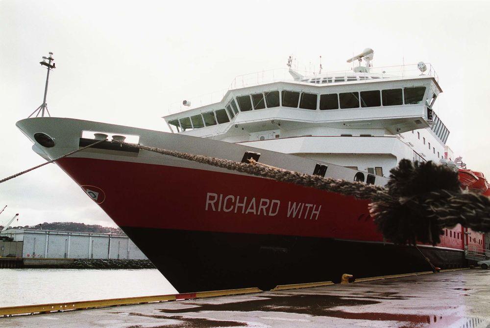 "Hurtigruteskipet ""Richard With"" i Trondheim havn."