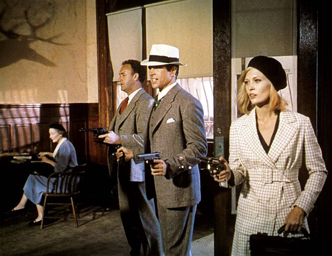 Gene Hackman (t.v), Warren Beatty og Faye Dunaway fra filmen Bonnie and Clyde fra 1967.