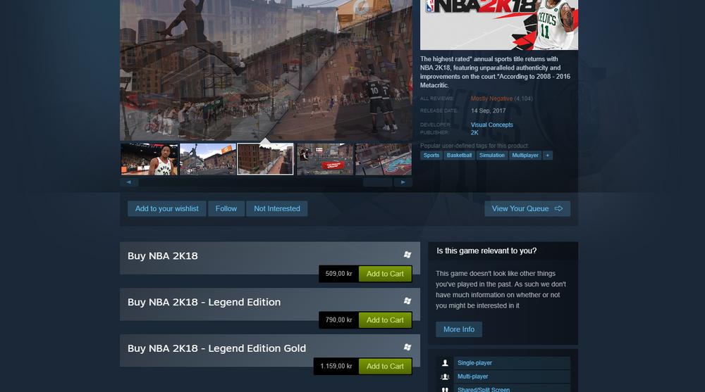 Du må ut med 1160 kroner for å få den beste versjonen av NBA med 100 000 av den digitale valutaen.