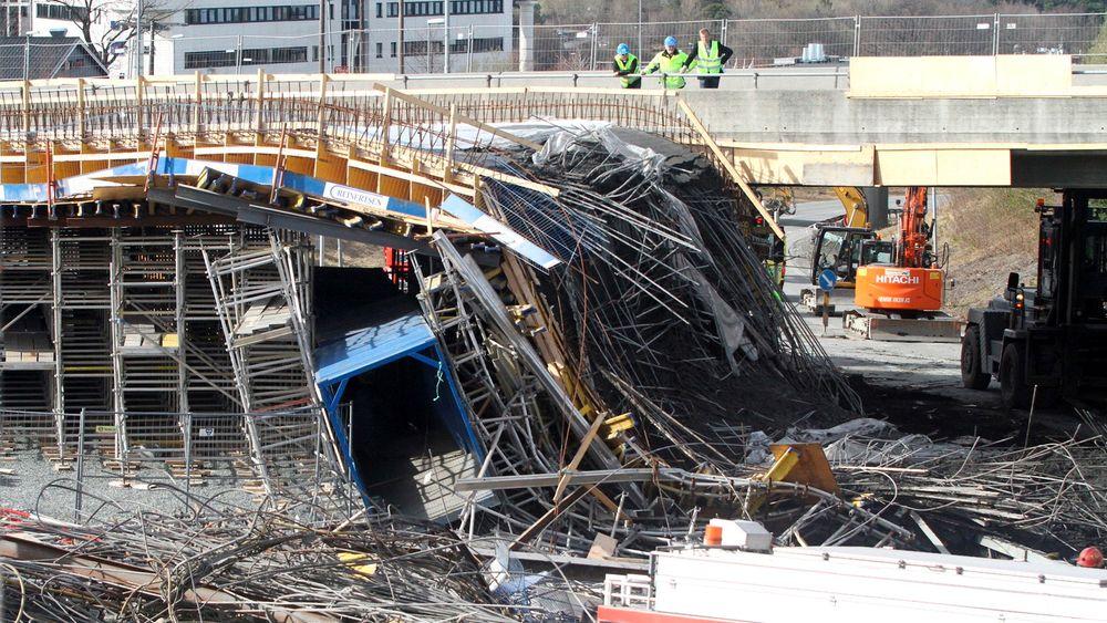 Rotvollhaugen bro i Trondheim kollapset under støping i 2013.