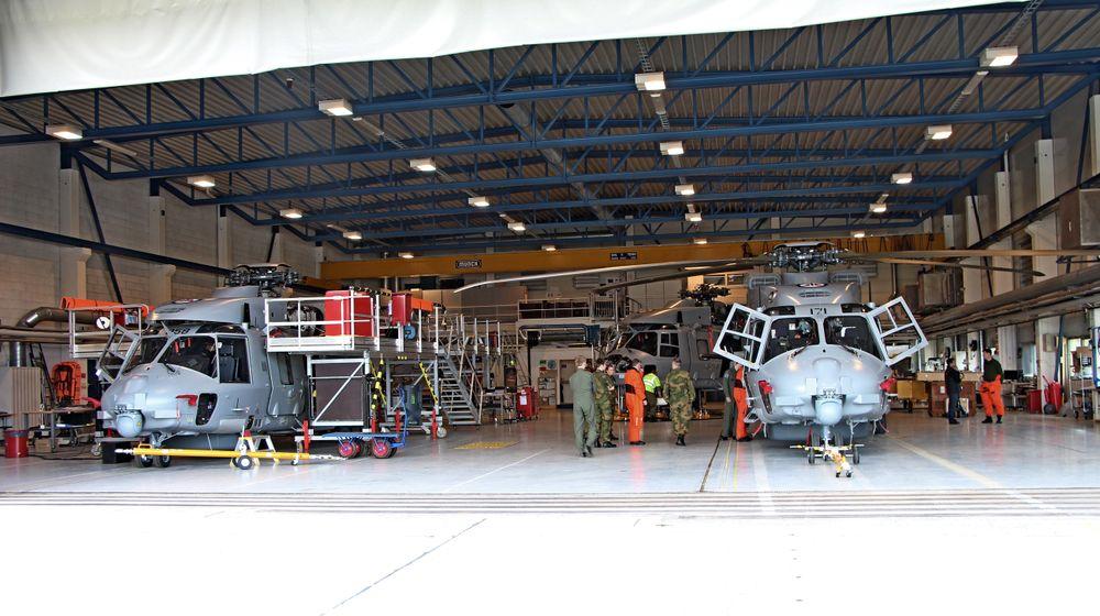 Arkivfoto av NH90-helikoptre i hangaren på Bardufoss.