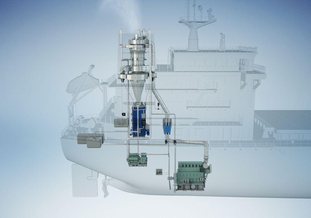 Scrubbere fra Clean Marine prosjektert for Stolt Tankers. En scrubber kan ta eksos fra både hovedmotor, hjelpemotor og kjeler.