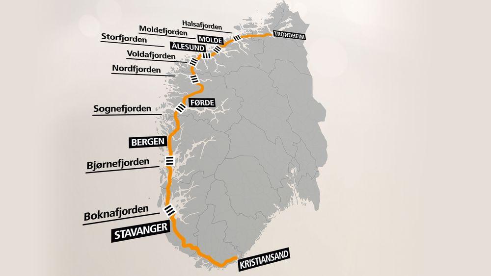 Slik vil eventuelt nye E39 gå mellom Kristiansand og Trondheim.