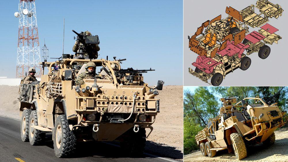 Amerikansk HMT Extenda i Afghanistan i 2011. Til høyre: Tilsvarende vogn med fjernstyrt våpenstasjon.