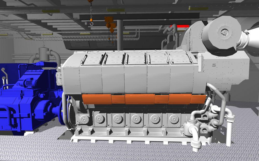 Wärtsiläs W31-motorer med 10 sylindre tegnet inn i  i et ankerhåndteringfartøy.