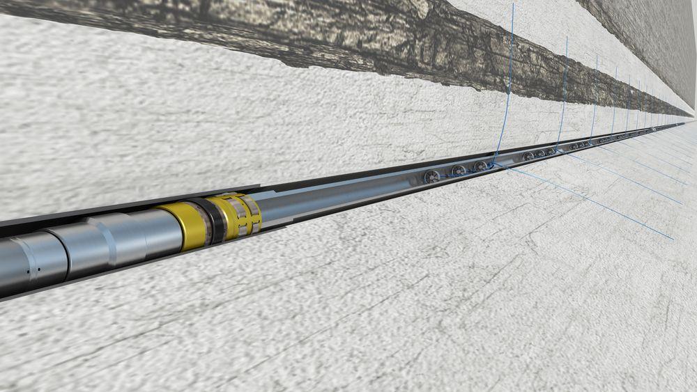 Utstyret til Fishbones borer tynne kanaler sideveis ut fra brønnen.