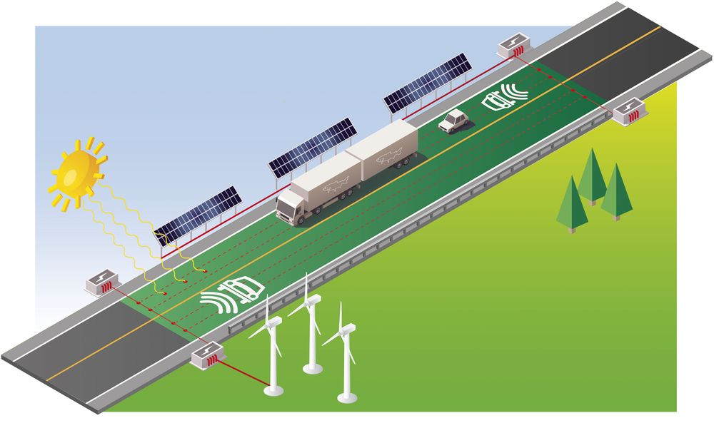 Fremtidsveien: Slik kan E39 bli seende ut. Målet er å gå vogntog til å gå på elektrisitet. Illustrasjon: Statens vegvesen.