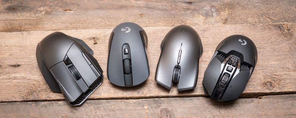 Fra venstre: Asus ROG Spatha, Logitech G603 (G403 ser stort sett lik ut, bare at den er helt sort), Razer Lancehead og Logitech G903.