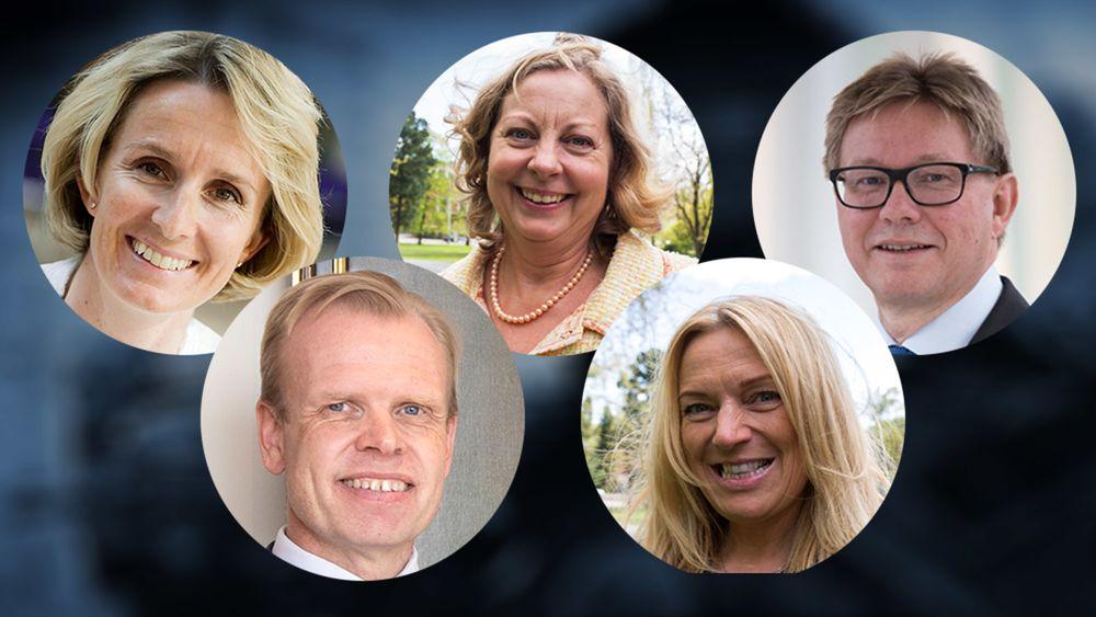 Noen av de nominerte: Irene Rummelhoff (Statoil), Berit Svendsen (Telenor), Svein Tore Holsether (Yara), Per A. Sørlie (Borregaard) og Toril Nag (Lyse).