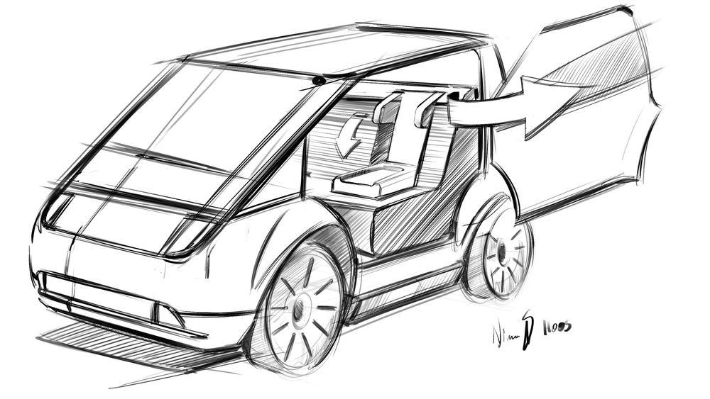 Slik ser Buddy Mobility for seg at en selvkjørende, liten elbil kan se ut.