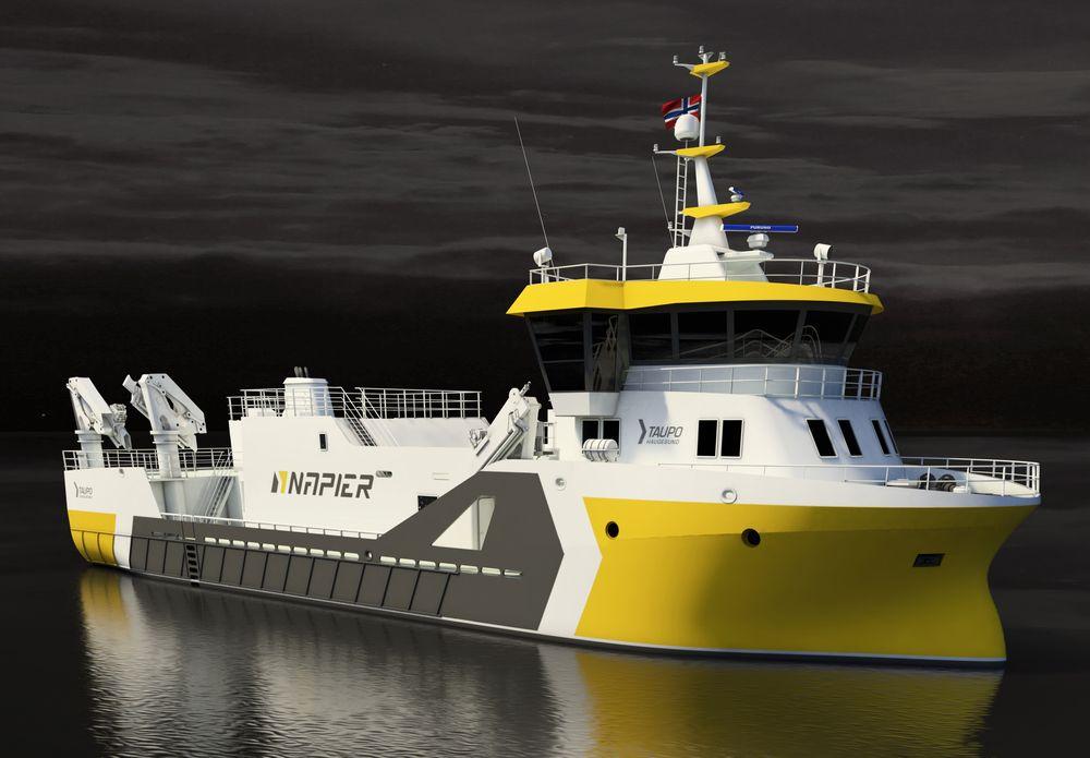 Ny slaktebåt: Slik blir den nye slaktebåten som Napier har kontrahert hos Fitjar Mekaniske verksted.