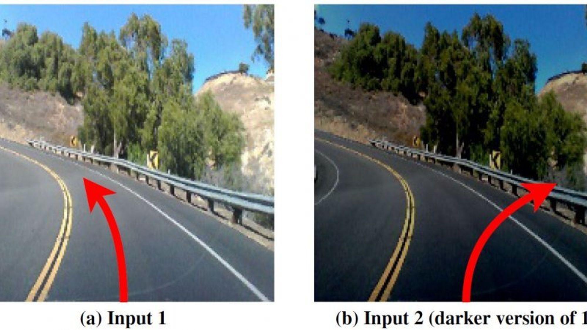 For et menneske er det ikke særlig store forskjell på disse to bildene. Men forskerne bak et nytt testverktøy for kunstig intelligens, fant ut at selv små endringer i et bilde kunne få en selvkjørende bil til å foreta en potensiell fatal feilbedømning. Forskerne fant tusenvis av tilsvarende feil.