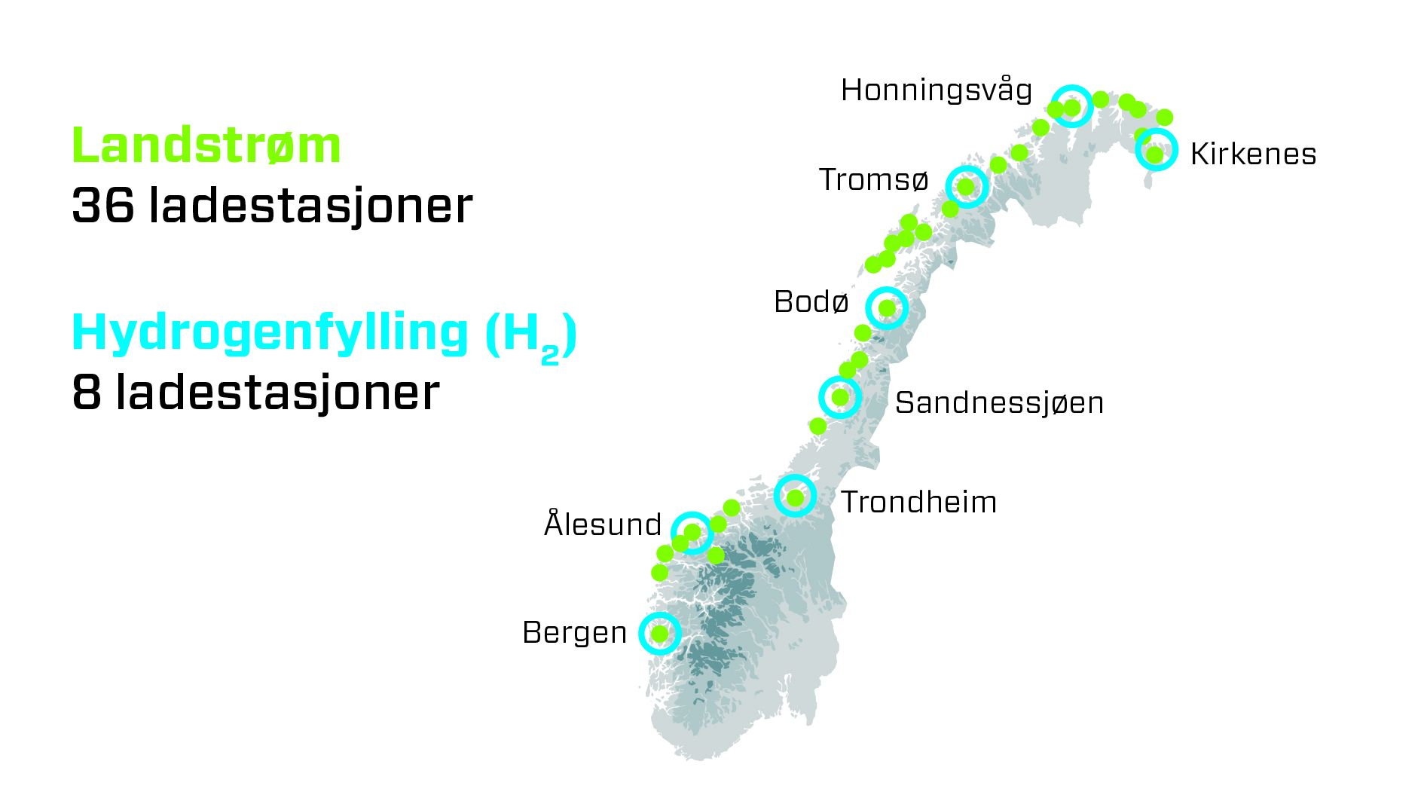 kart over ladestasjoner i norge Utslippsfri kystrute langs Norskekysten   Norsk Hydrogenforum kart over ladestasjoner i norge