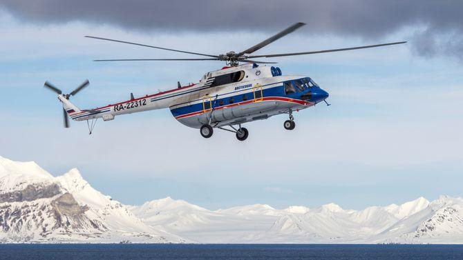 Det var dette Mi-8AMT-helikopteret som havarerte under innflyging til Kapp Heer-basen 26. oktober. Åtte personer omkom i ulykken.