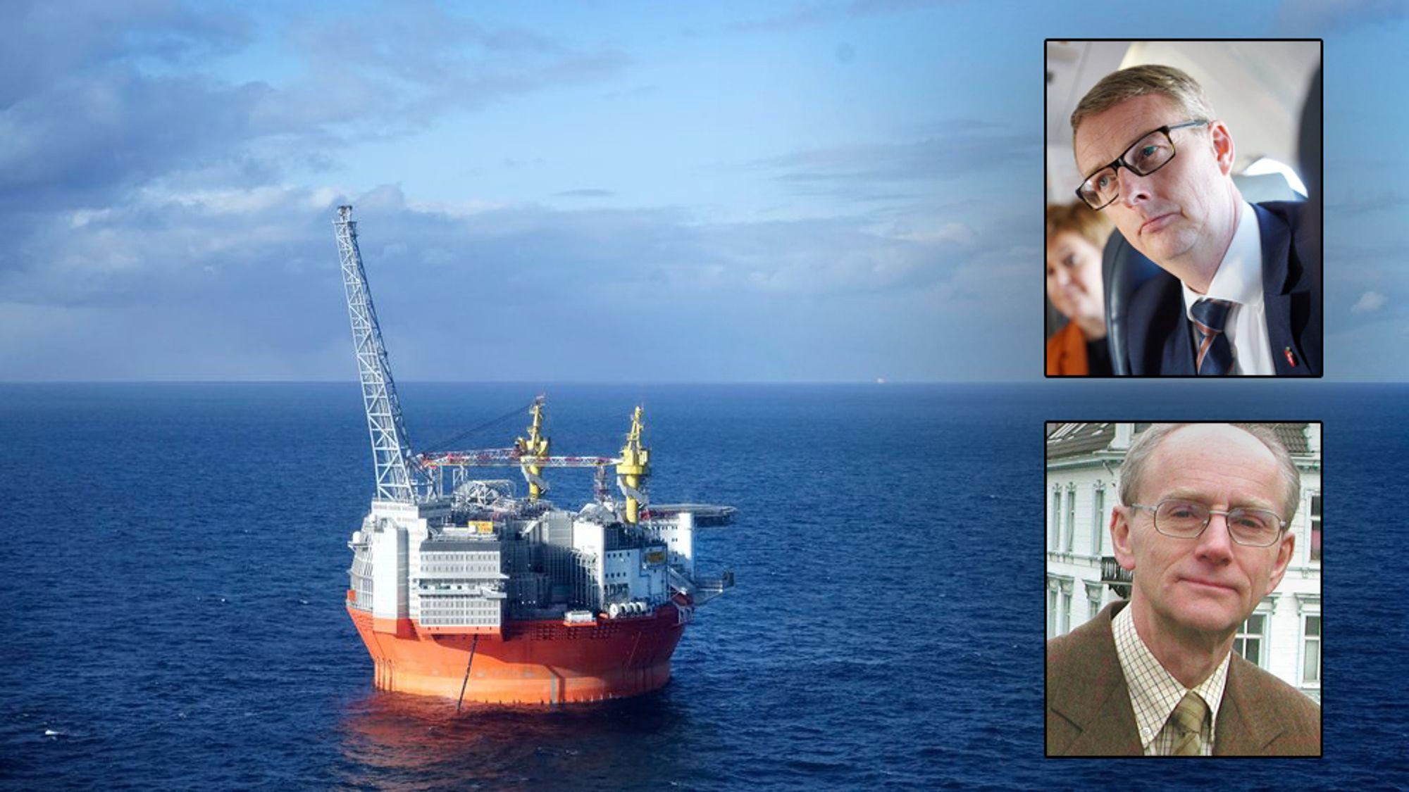 Olje- og energiminister Terje Søviknes (innfelt oppe) hevder departmentet ikke har sett noe på Goliat-feltet (bildet) og potensiell lønnsomhet for staten. Professor Jan Fridtjof Bernt (innfelt) mener det må finnes noen anslag i departementet.