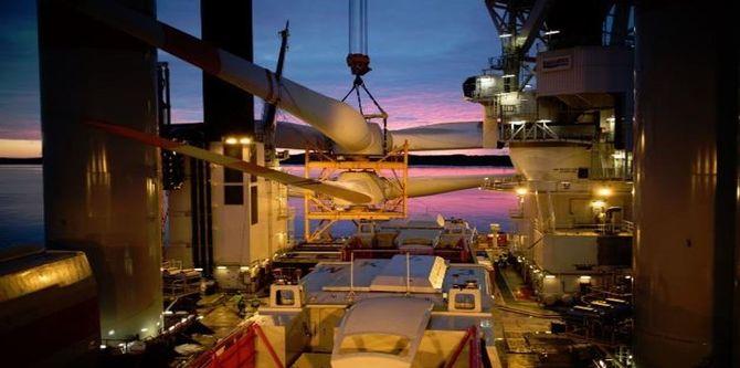 Turbin-installasjon på Wikinger-feltet. Foto: Fred. Olsen Ocean.